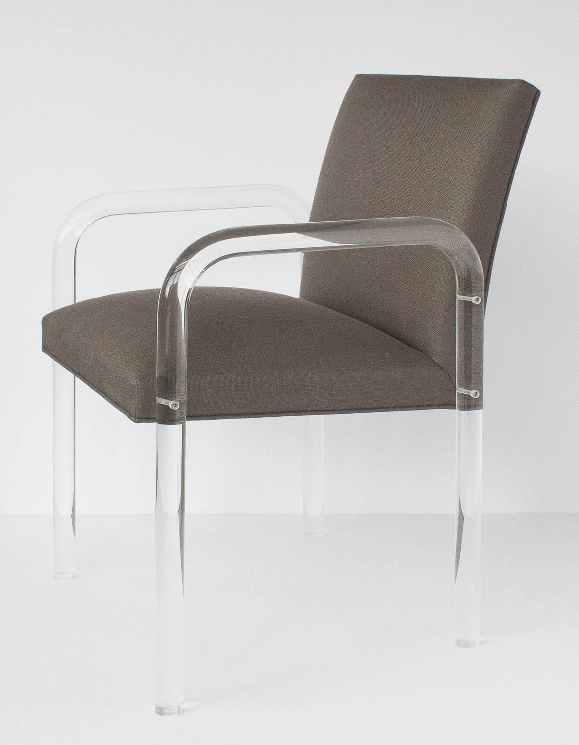 acrylic dining chair white farmhouse table and chairs eight modern lucite arm set in the style of
