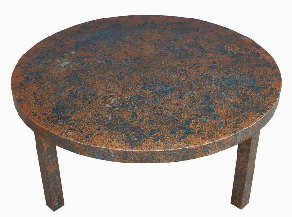 Coffee Table In Metallic And Blue Oil Drop Finish