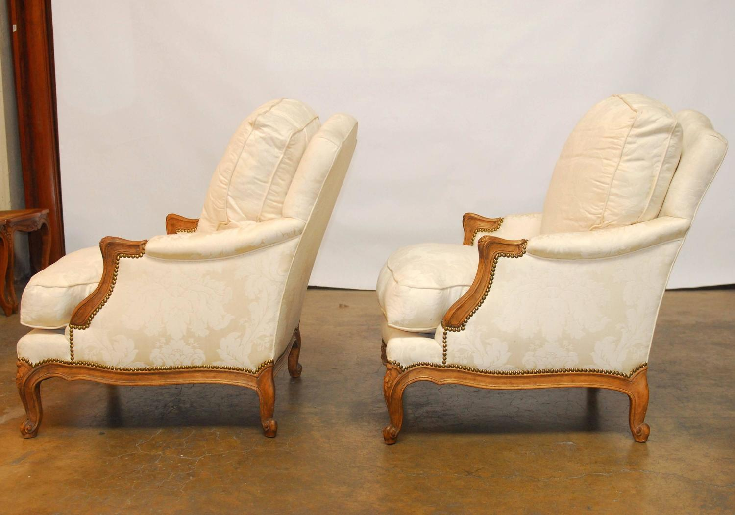 minton spidell chairs office chair manufacturers pair of french walnut bergeres by at 1stdibs