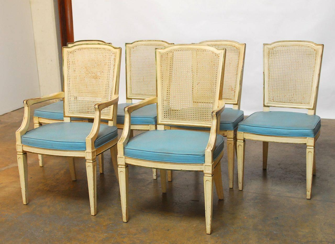 henredon chairs dining room mission recliner chair plans set of six louis xvi style cane by