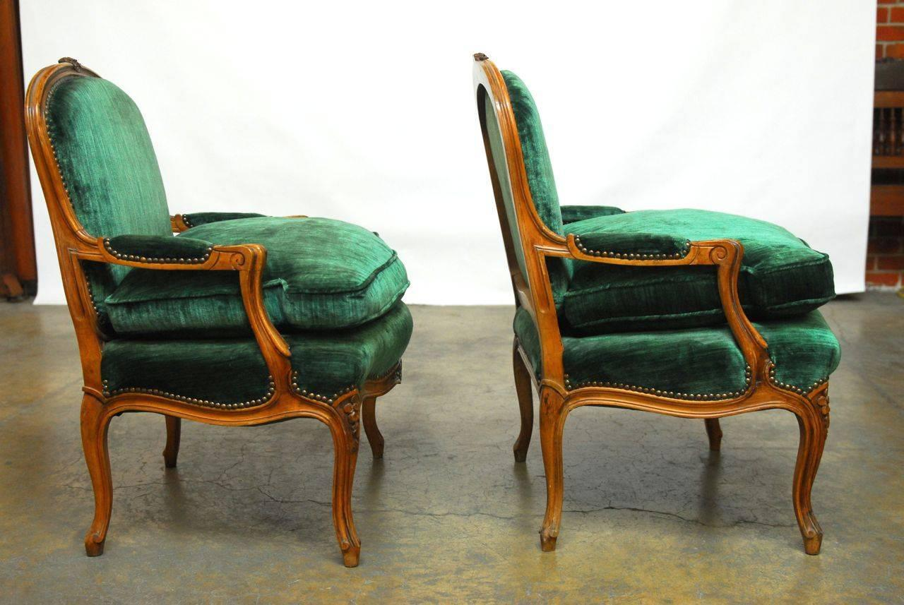 emerald green velvet chair electric execution gone wrong pair of louis xv armchairs at 1stdibs