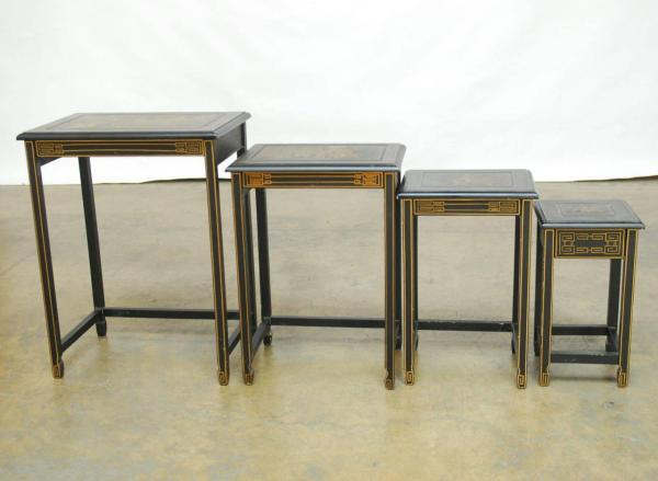 Set of Four Chinese Black Lacquer Nesting Tables at 1stdibs