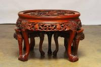 Round Chinese Carved Rosewood Tea Table with Nesting ...