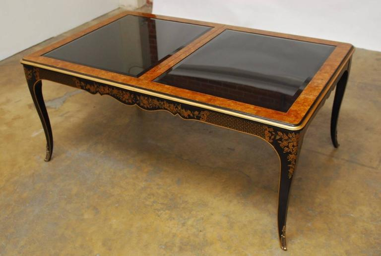 Drexel Et Cetera Black Lacquer Chinoiserie Dining Table For Sale At 1stdibs