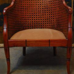 Mid Century Cane Barrel Chair Desk With Footrest Recliner Midcentury Bamboo For Sale At 1stdibs