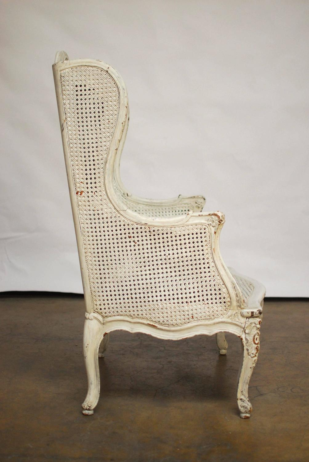 Louis XV Cane Wingback Bergere Chair For Sale at 1stdibs