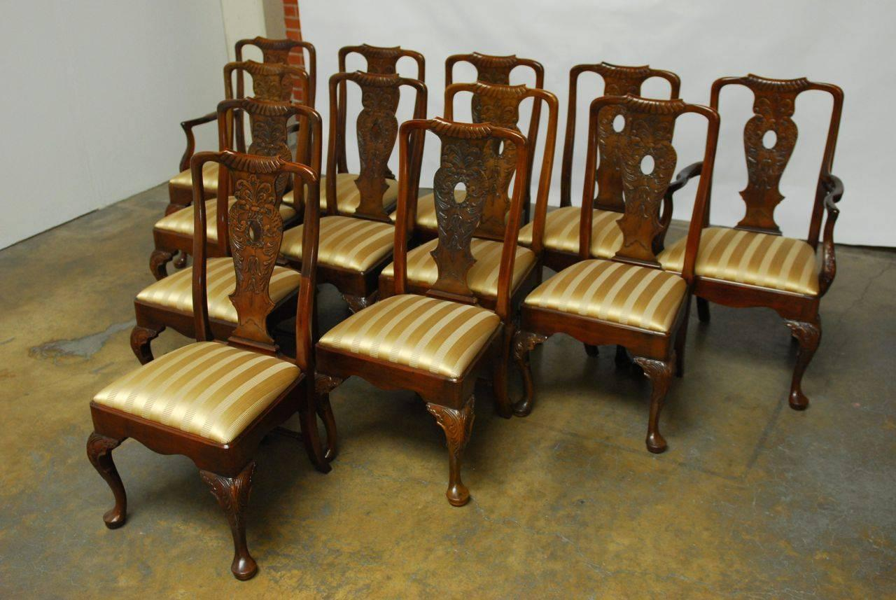 henredon chairs dining room adirondack weatherproof set of 12 carved mahogany georgian style by