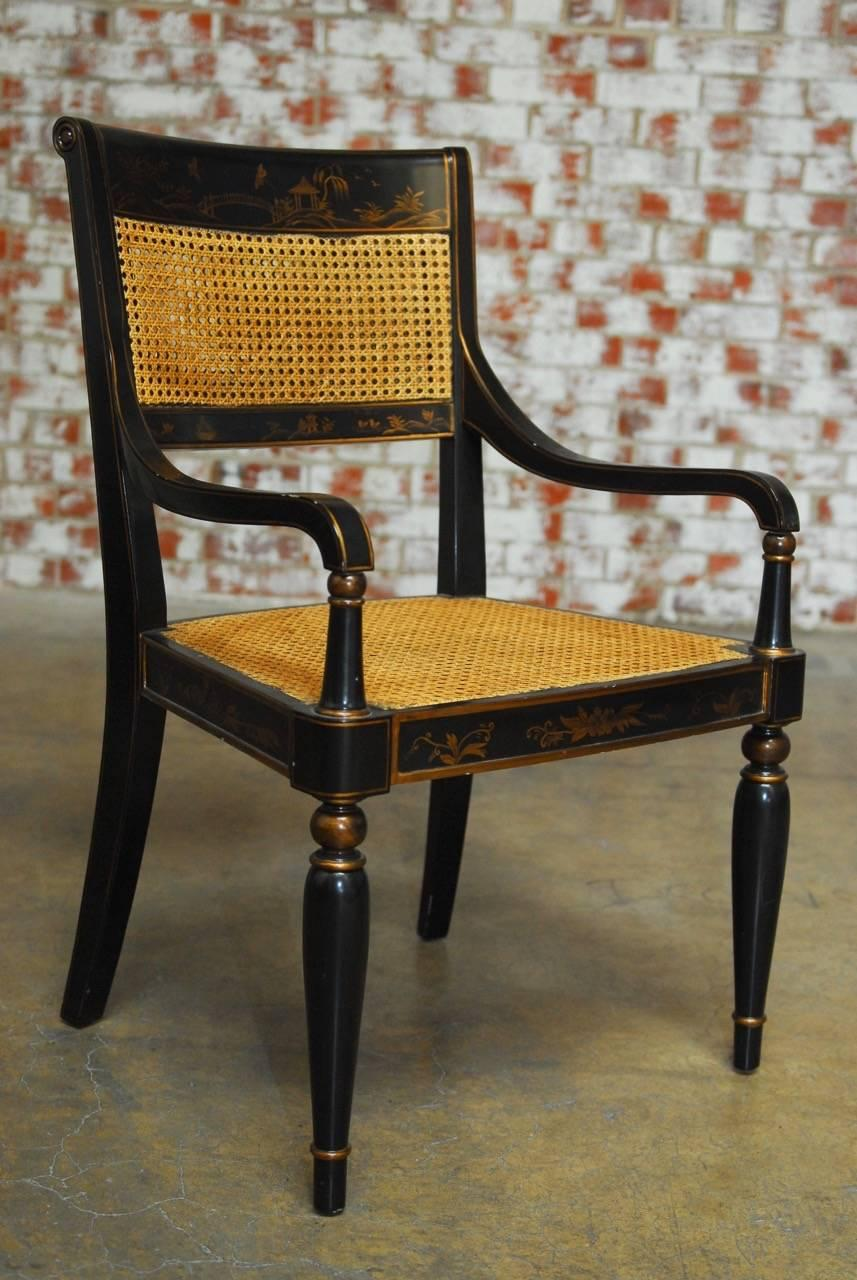 Regency Style Chinoiserie Painted Cane Armchair By
