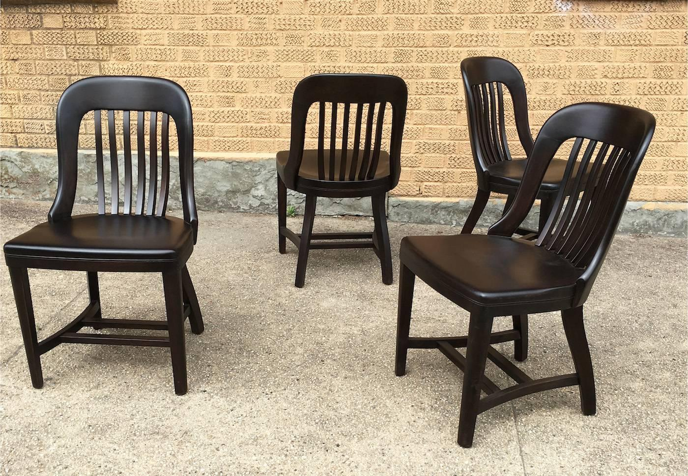 sikes chair company executive computer pair of ebonized gunlocke bank england side chairs for