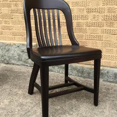 Sikes Chair Company Strongback Pair Of Ebonized Gunlocke Bank England Side Chairs For
