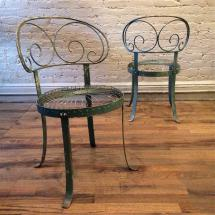 Set Of Green Wrought Iron Scroll- Garden Chairs