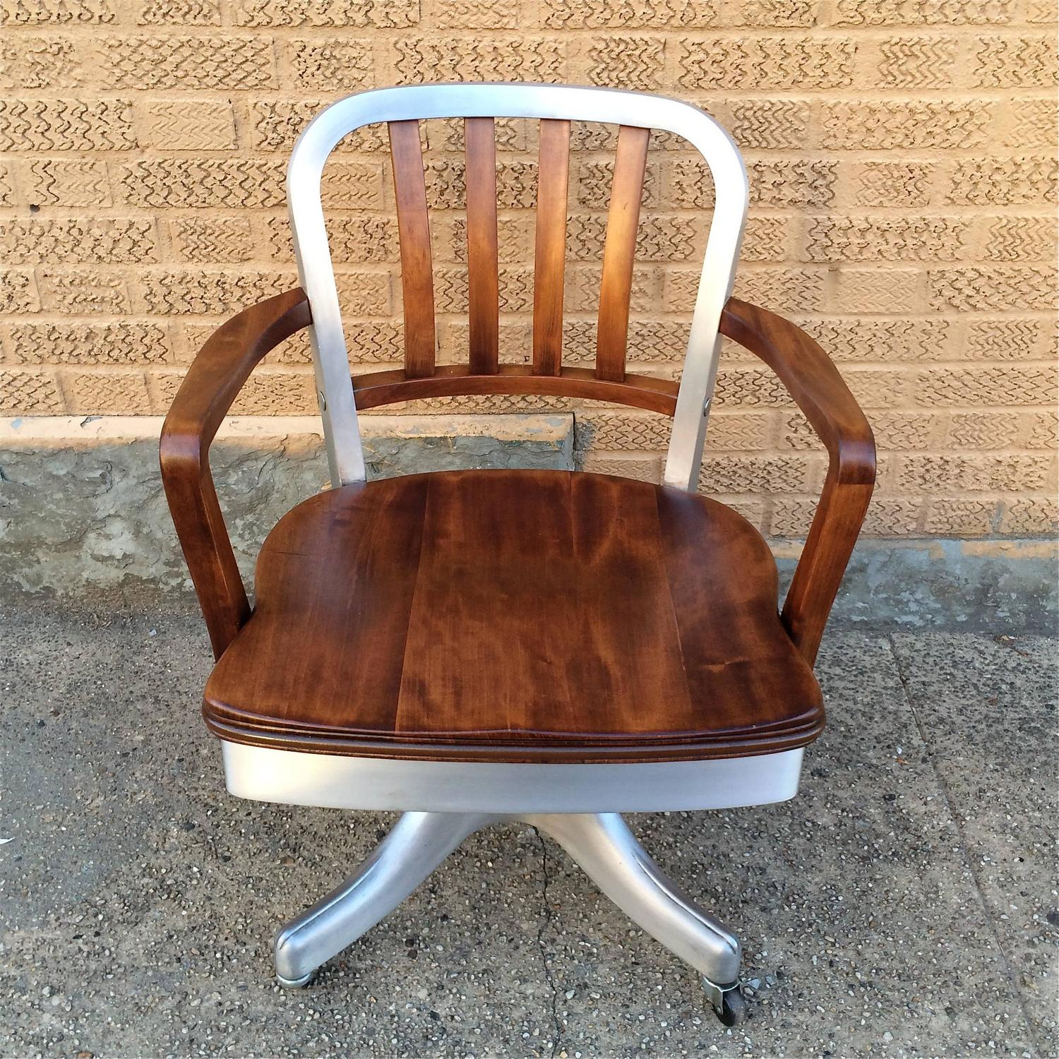 shaw walker chair beach chairs rolling aluminum and walnut office desk