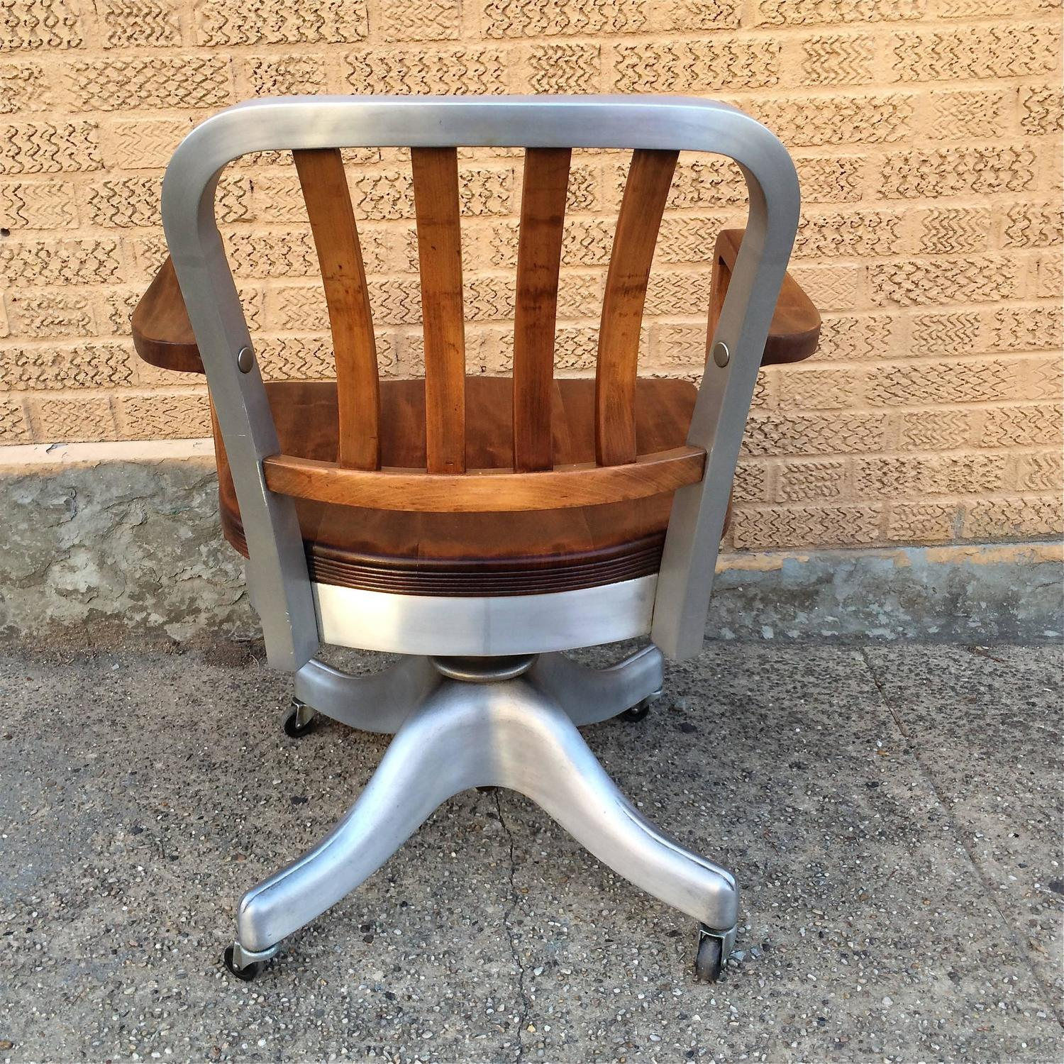 shaw walker chair wooden dining room chairs with arms rolling aluminum and walnut office desk