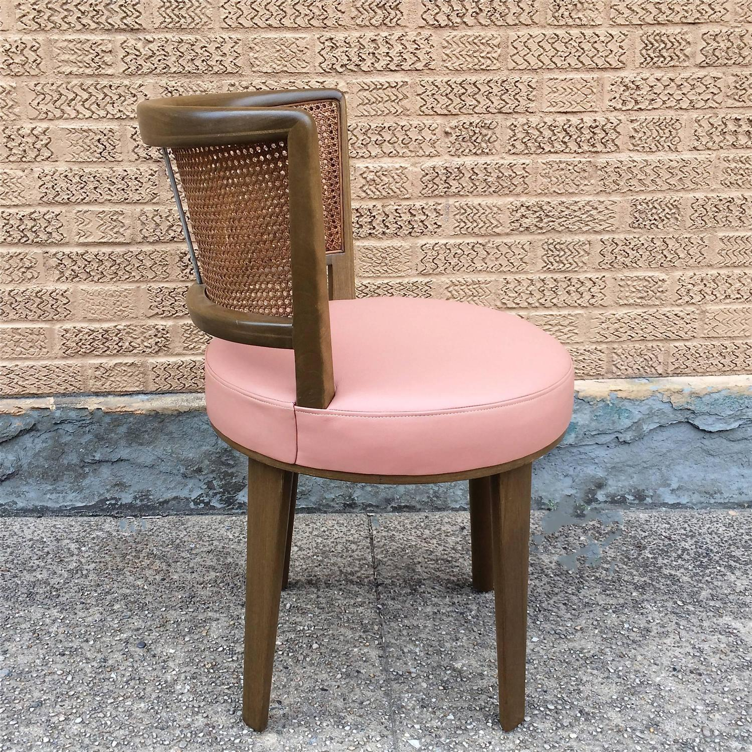 pink vanity chair glass and wood dining table chairs swivel by edward wormley for dunbar sale