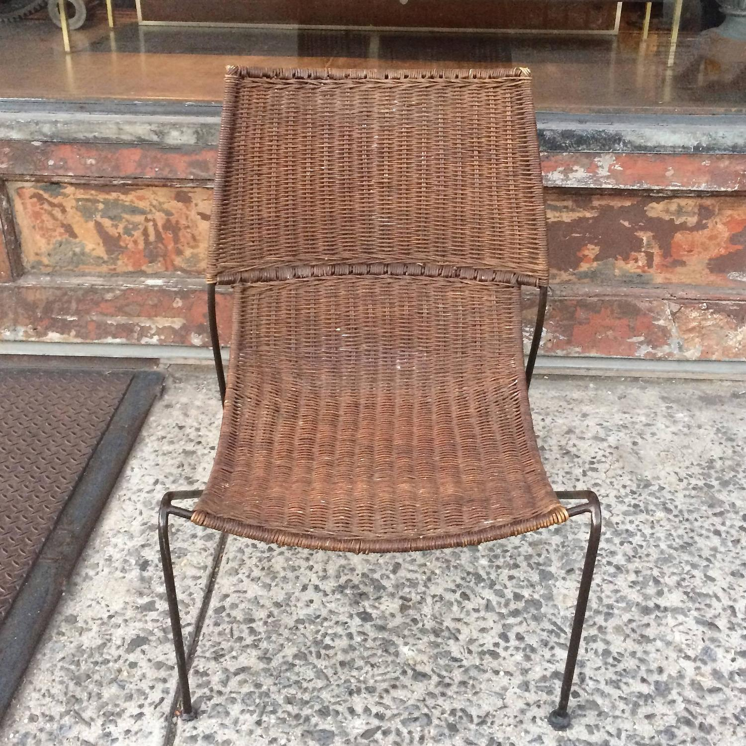 woven lounge chair boyd dental manual rattan and wrought iron slipper for
