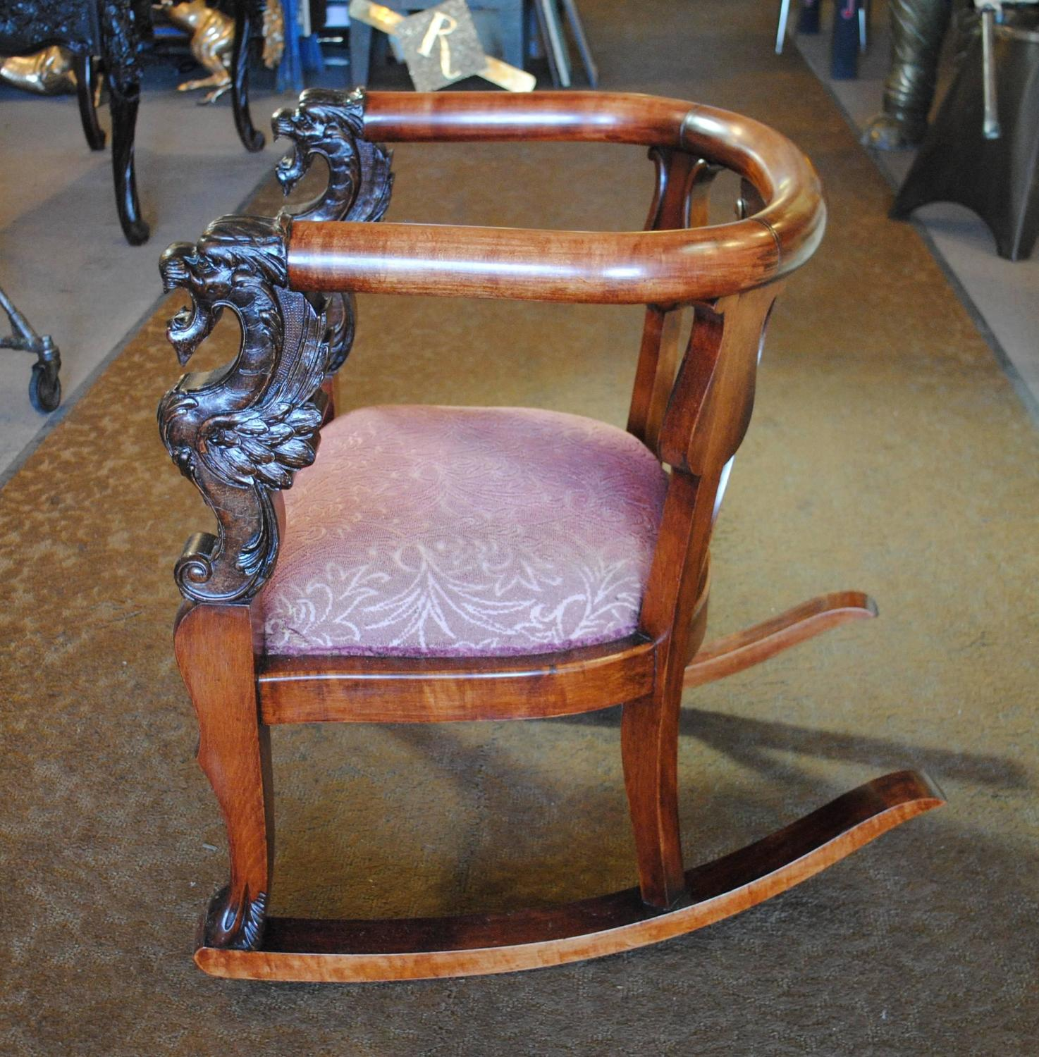 antique rocking chairs for sale office without wheels and arms wood chair carved griffin lion dragon