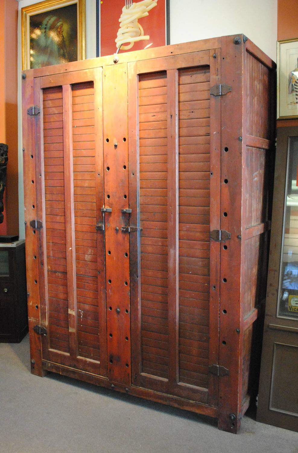 Large Rustic Wood Storage Cabinet at 1stdibs
