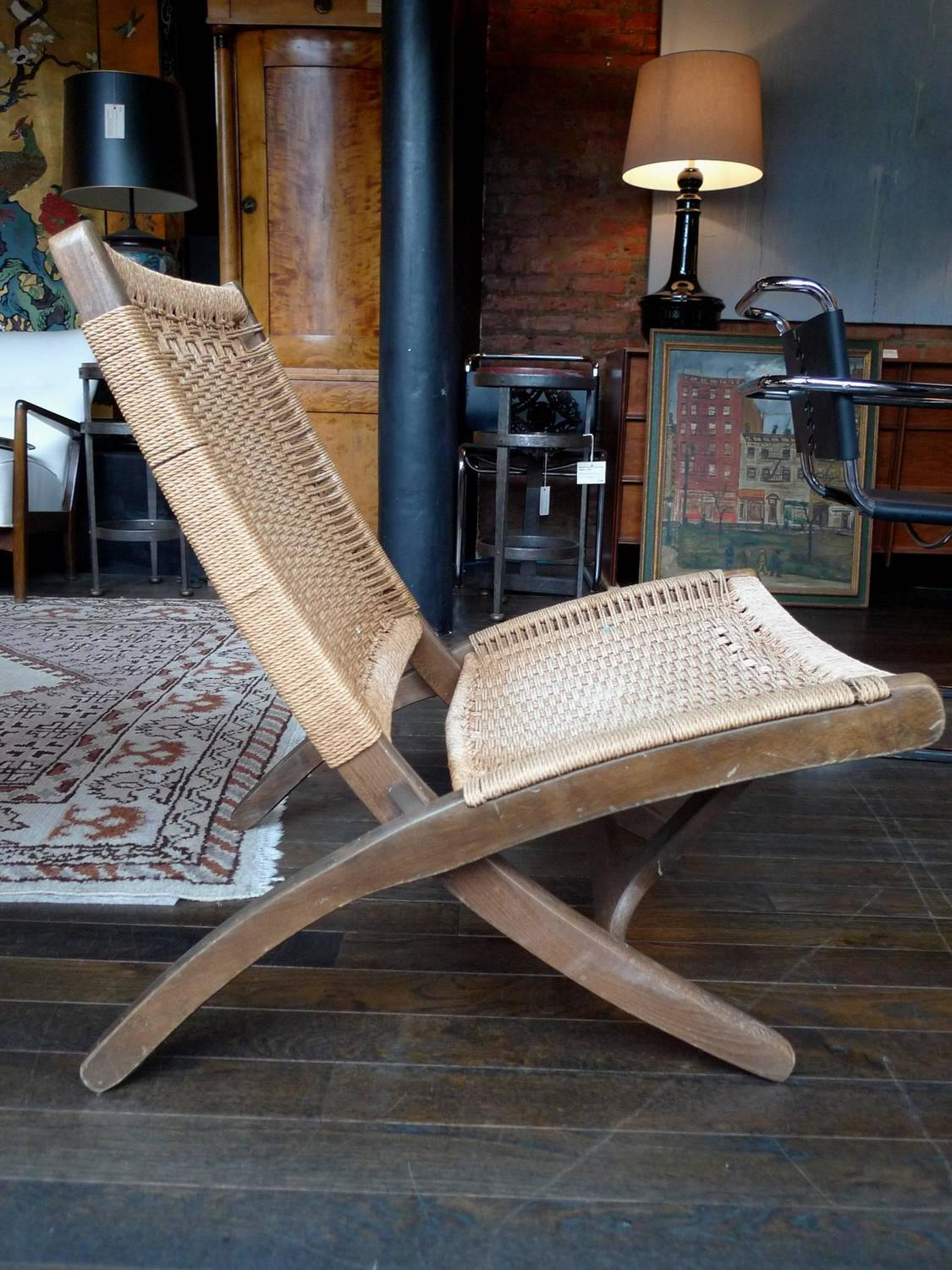 modern folding chair jysk canada covers mid century rope in the style of hans wegner