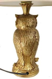 Vintage Gold Owl with White Shade Table Lamp at 1stdibs