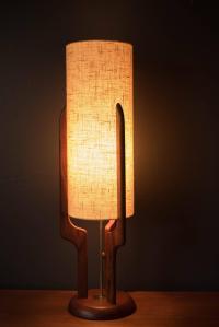 Mid-Century Sculpted Walnut Lamp at 1stdibs