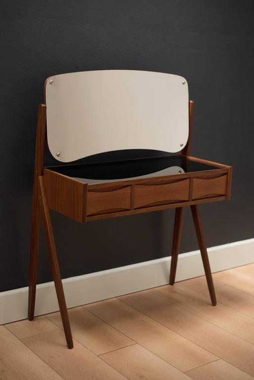 Danish Arne Vodder Teak Floating Mirror Vanity at 1stdibs