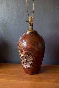 Mid-Century Modern Pair of Burl Lamps at 1stdibs