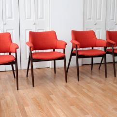 Orange Upholstered Chair Cover Rentals Grand Rapids Reupholstered Mid Century Modern Walnut Dining