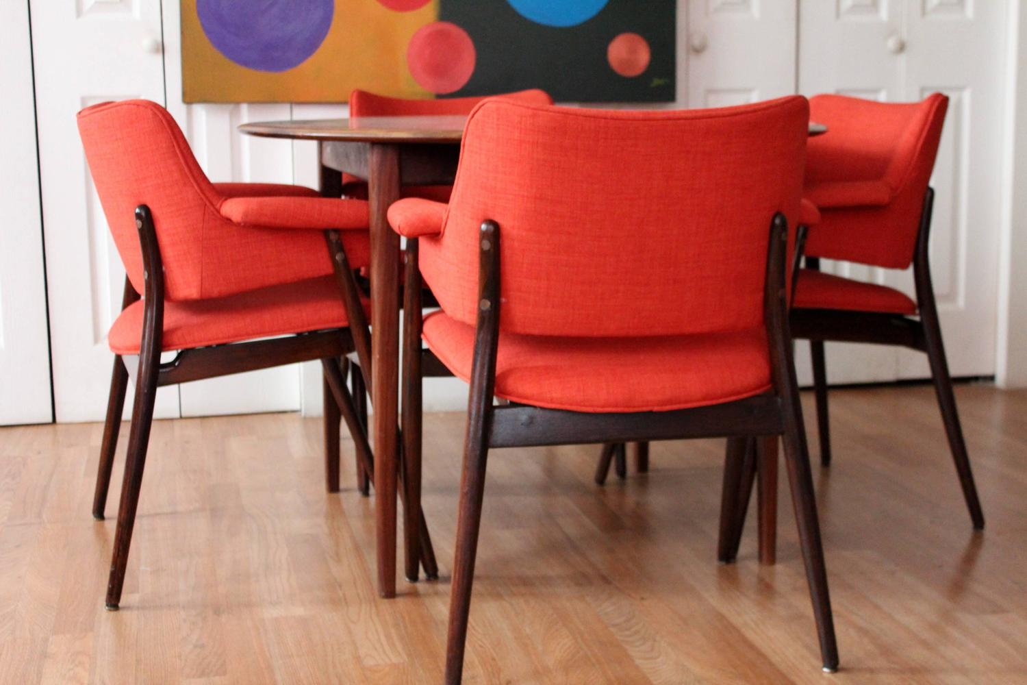 modern orange chair cheapest folding chairs reupholstered mid century walnut dining