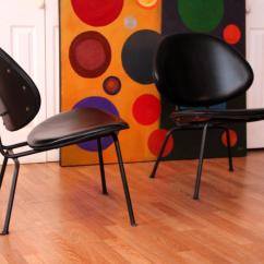 Clam Shell Chair Swing Spring Homecrest Black Leather Lounge Chairs For Sale