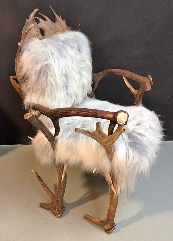 folding chair leather cheap ties antler with grey iceland sheepskin upholstery for sale at 1stdibs