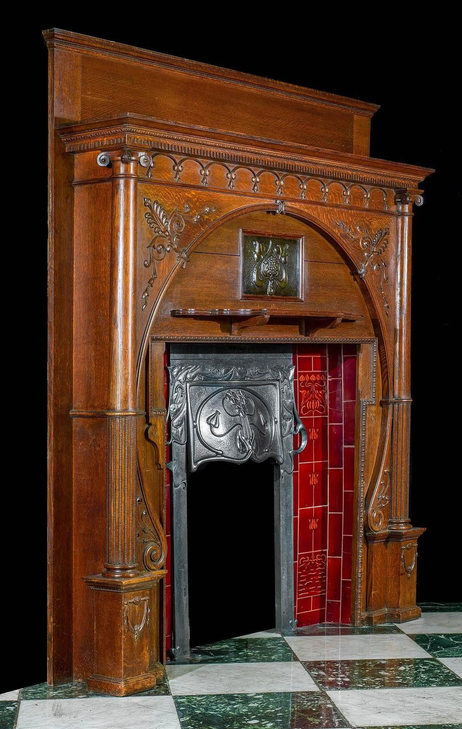 Tiled Fireplace Pictures Carved Oak Art Nouveau Antique Fireplace Mantel And