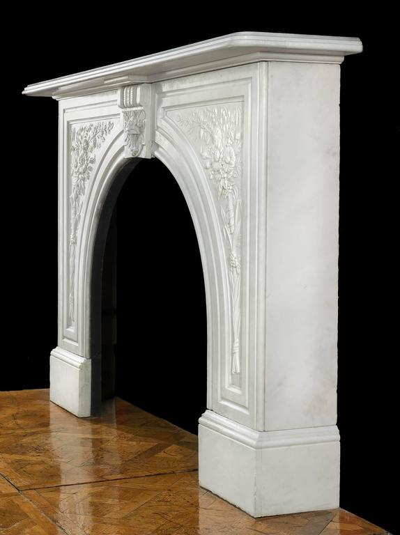 Victorian Antique Arched Marble Fireplace Mantel For Sale