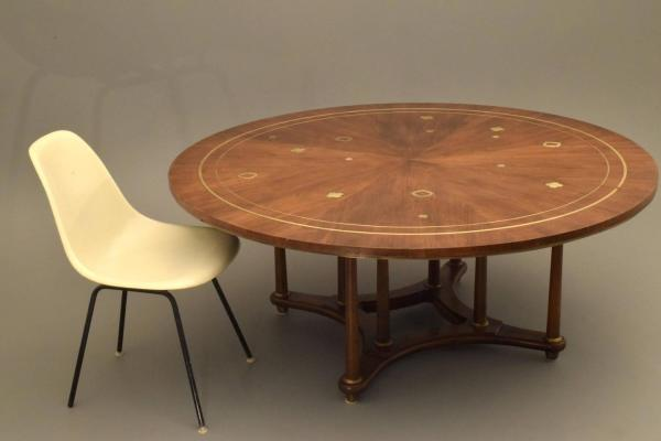 Bert England for Johnson Furniture Large Cocktail Table, Solid Walnut and Brass For Sale at 1stdibs