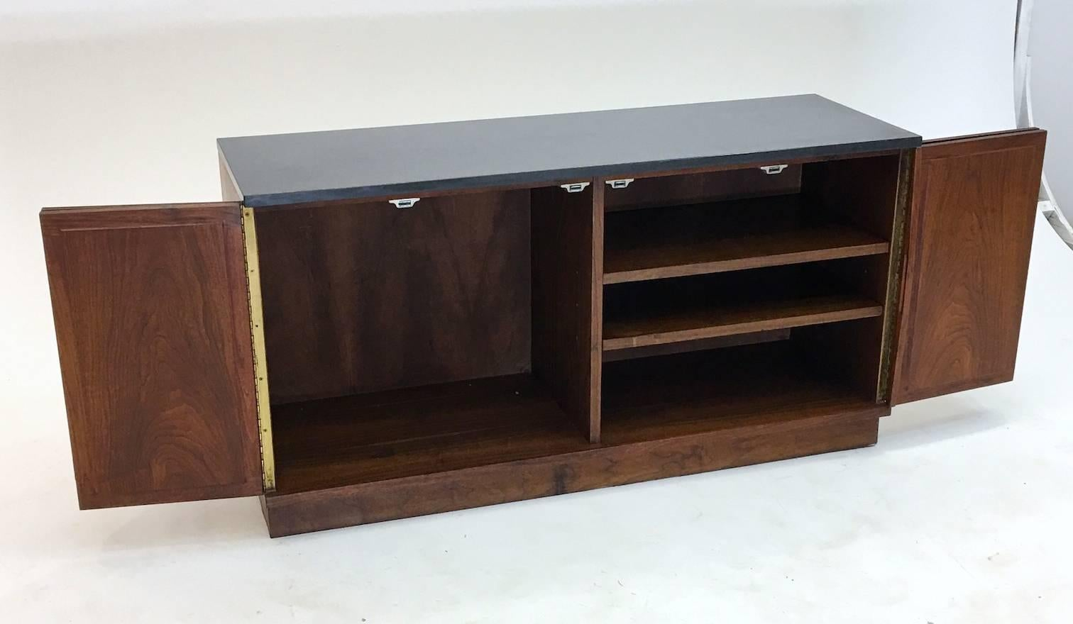 Diminutive Slate and Walnut Console Cabinet with Low