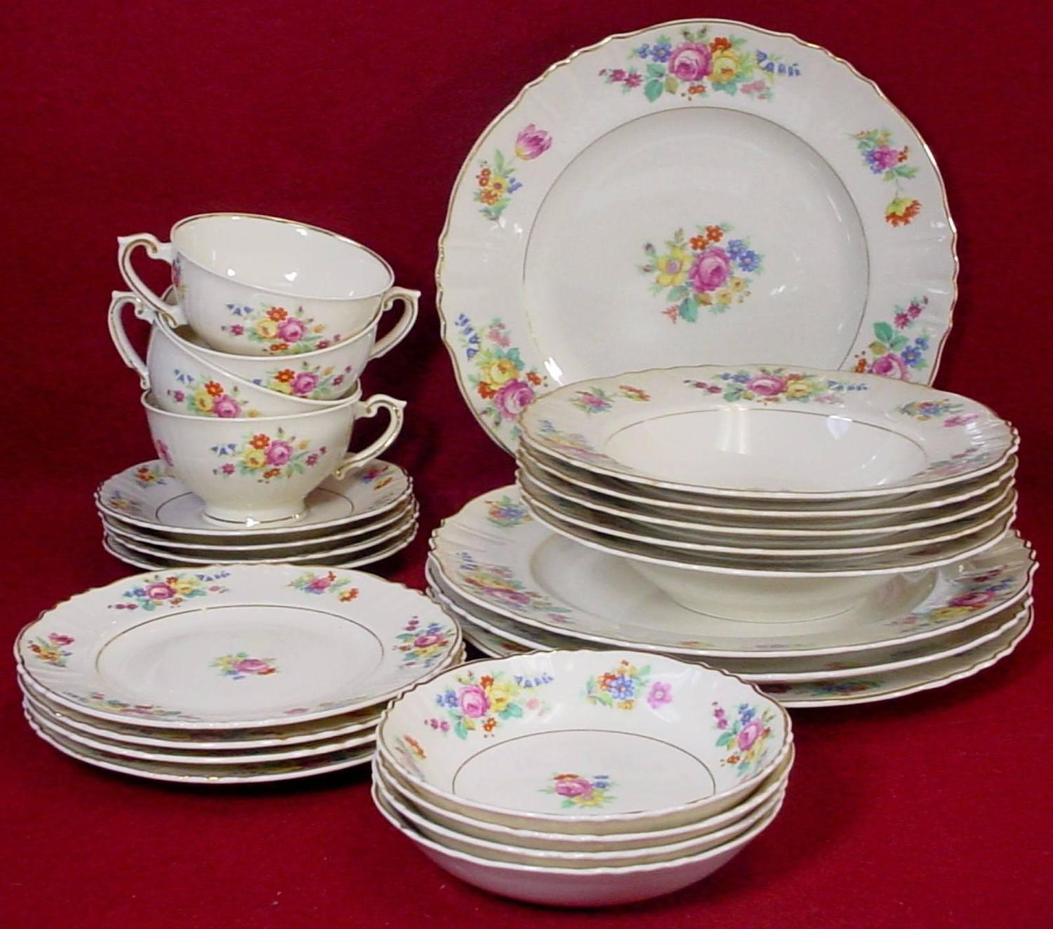 SYRACUSE china ROSEMOOR pattern 24pc SET SERIVCE for FOUR