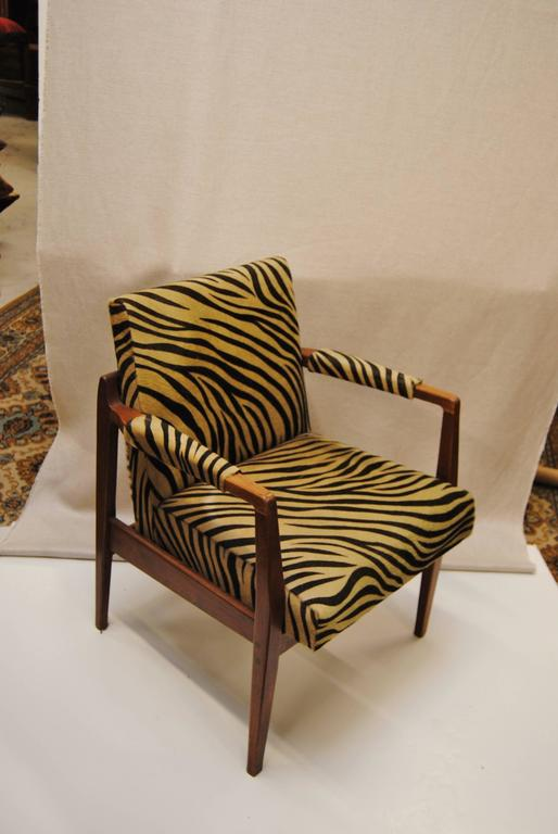 Vintage Danish Modern Walnut Chair Upholstered in Edelman