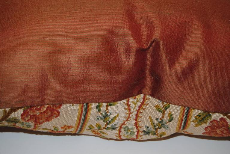 Antique French Needlepoint Pillow, Silk And Wool, Late
