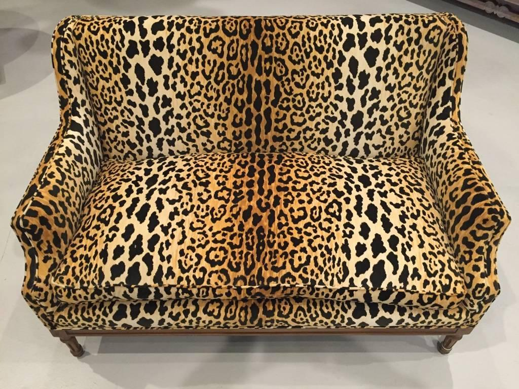 leopard print sofa appears valley brown leather reclining sectional mid century for sale at 1stdibs