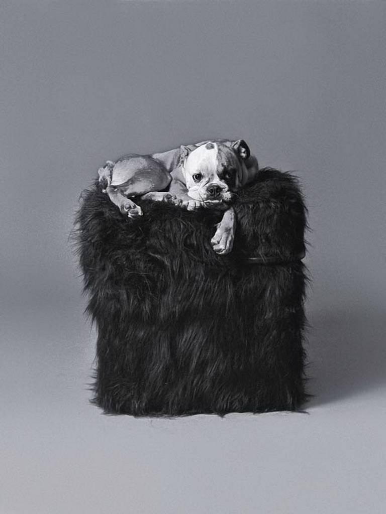 Blocco Black Mongolian Fur or Velvet Pouf Designed by