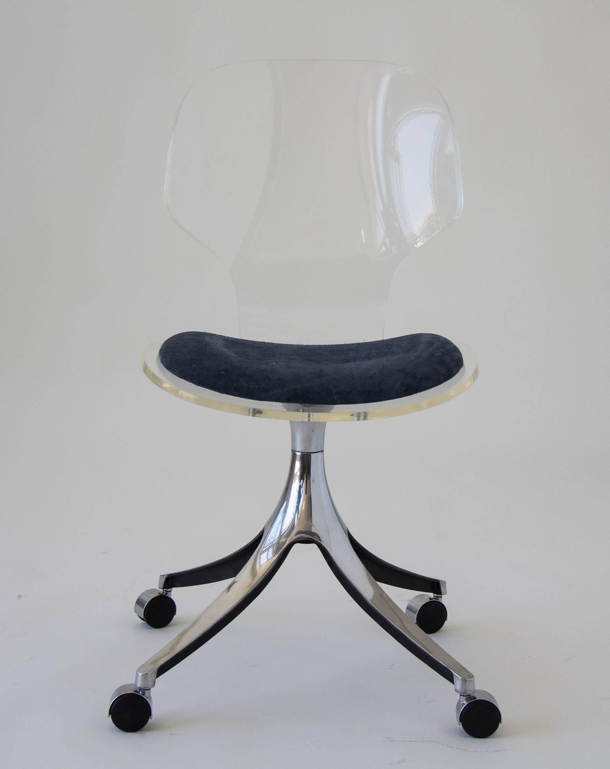 clear acrylic swivel office chair baby tub hill manufacturing co lucite rolling desk at 1stdibs