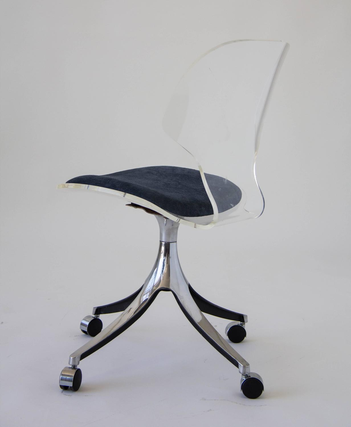 Acrylic Desk Chair Hill Manufacturing Co Lucite Rolling Desk Chair At 1stdibs