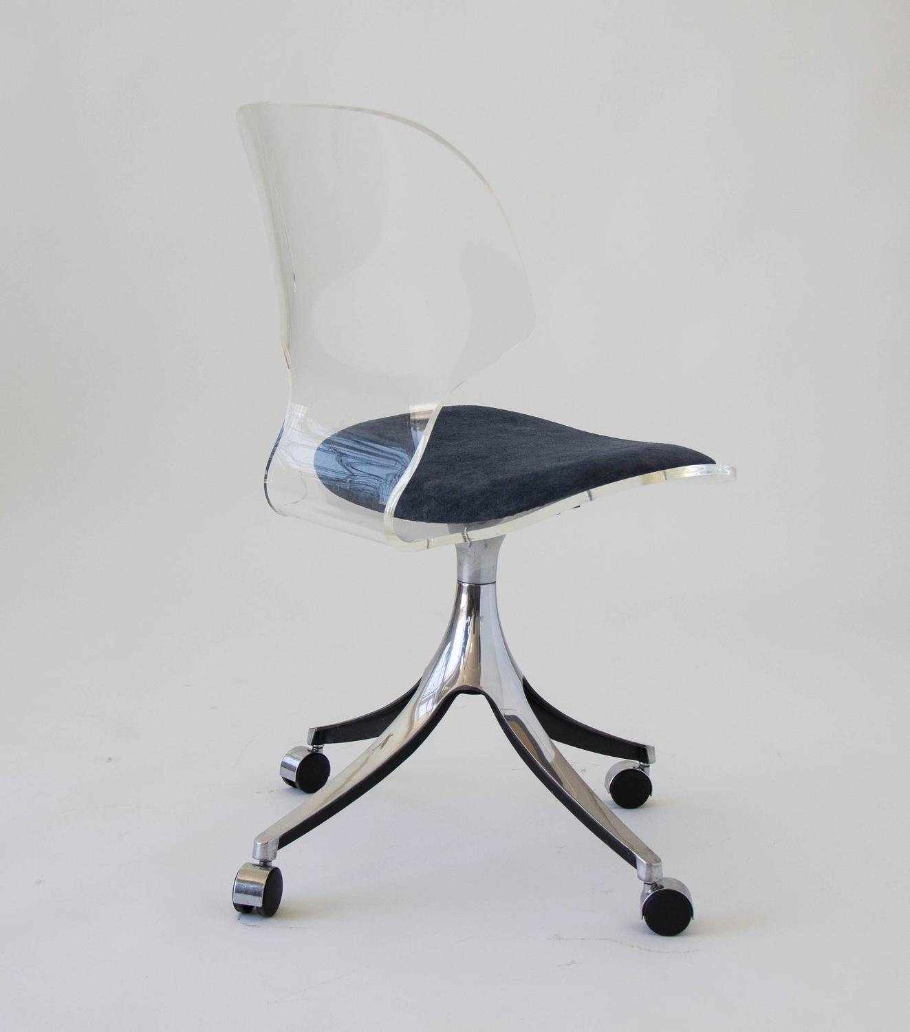 acrylic desk chair with cushion rifton toilet hill manufacturing co lucite rolling at 1stdibs