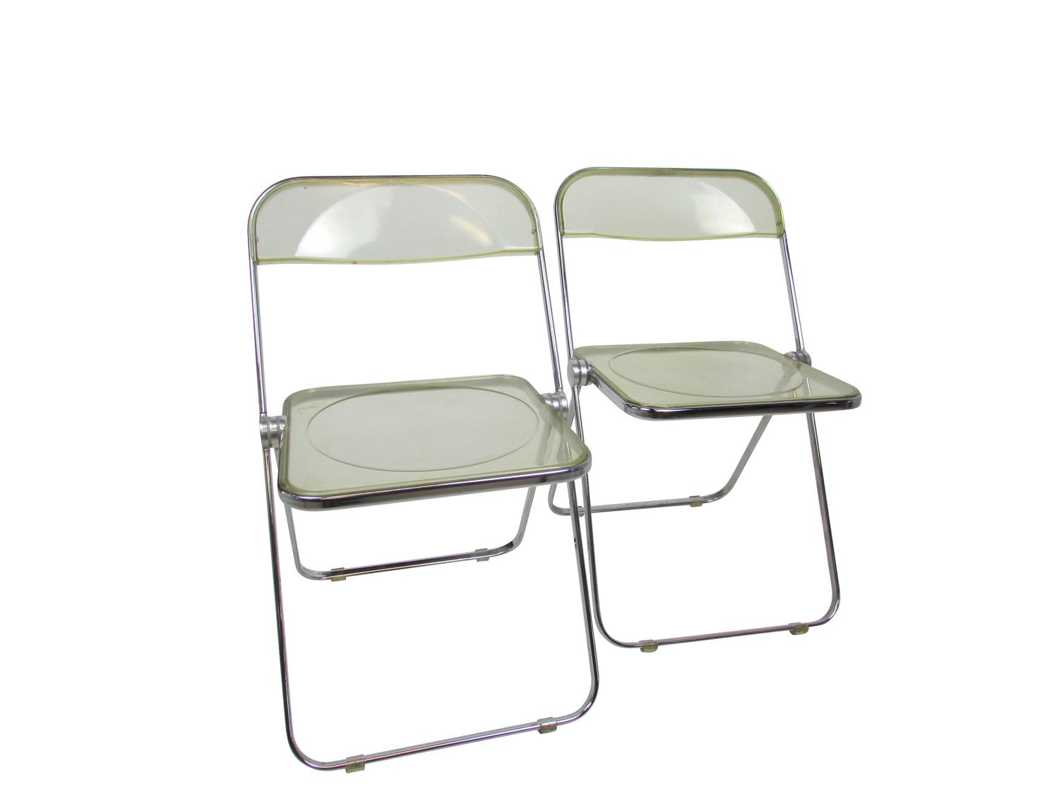 Lucite Folding Chairs Mid Century Lucite Acrylic Plia Folding Chair At 1stdibs