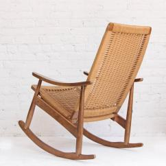 Woven Rocking Chair Arm Slip Covers Rope Mid Century Modern And Ottoman At