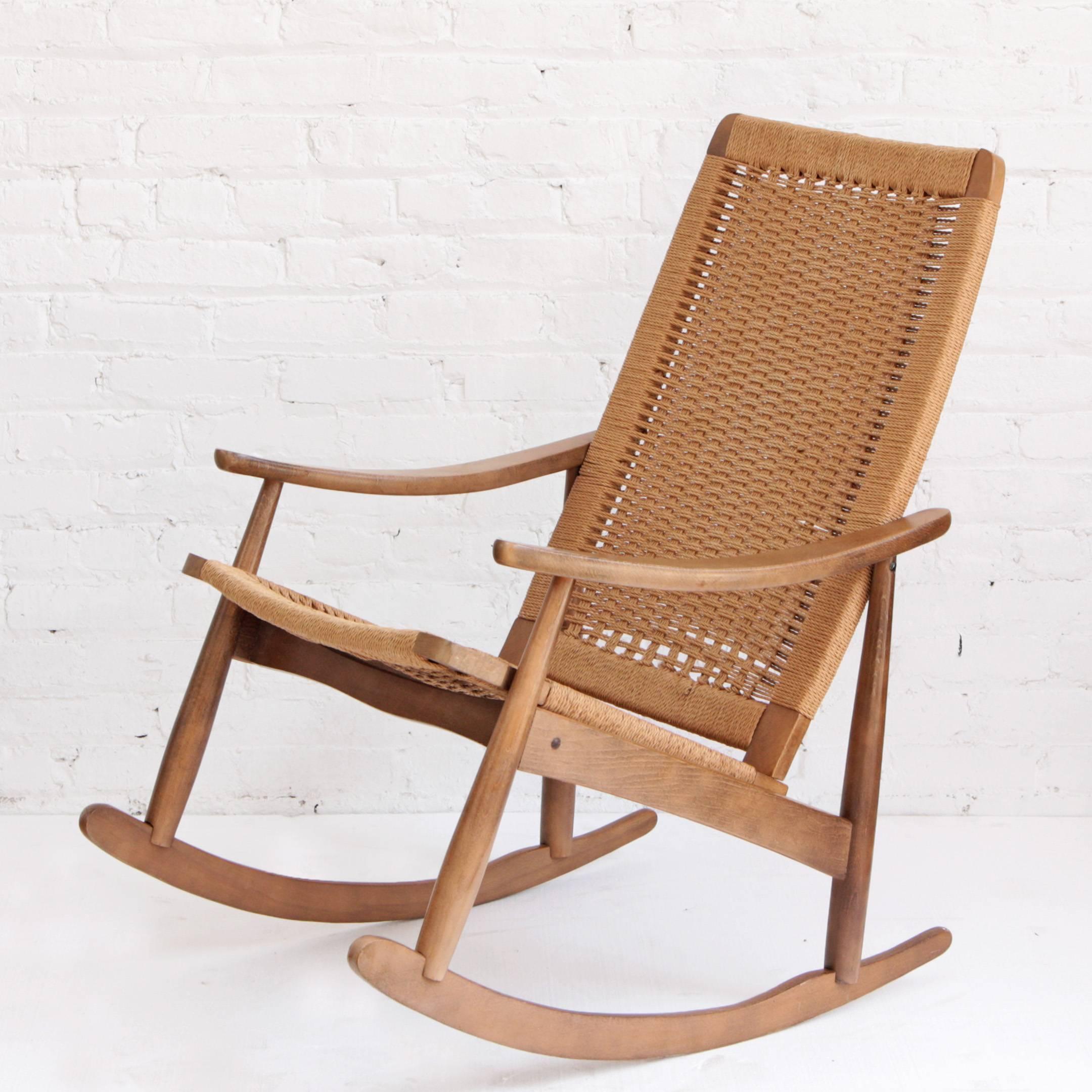 woven rocking chair mesh lawn chairs rope mid century modern and ottoman at 1stdibs