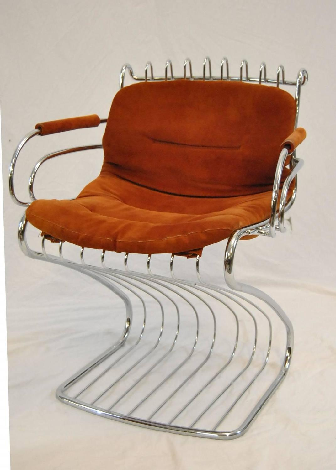 Mid Century Wire Chair Mid Century Set Of Six Chrome Wire Chairs By Gastone