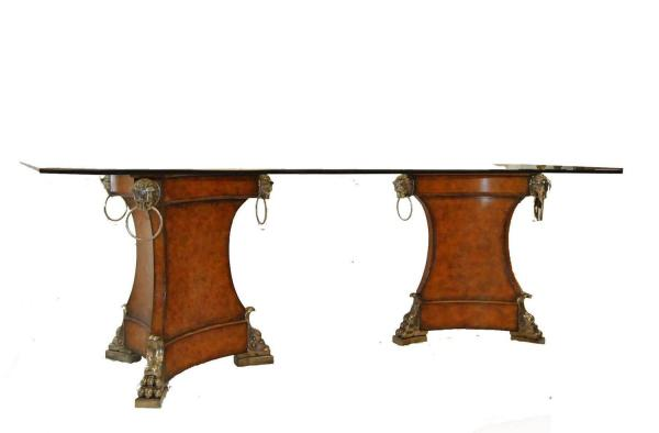 Double Leather Wrapped Pedestal Dining Table With Beveled