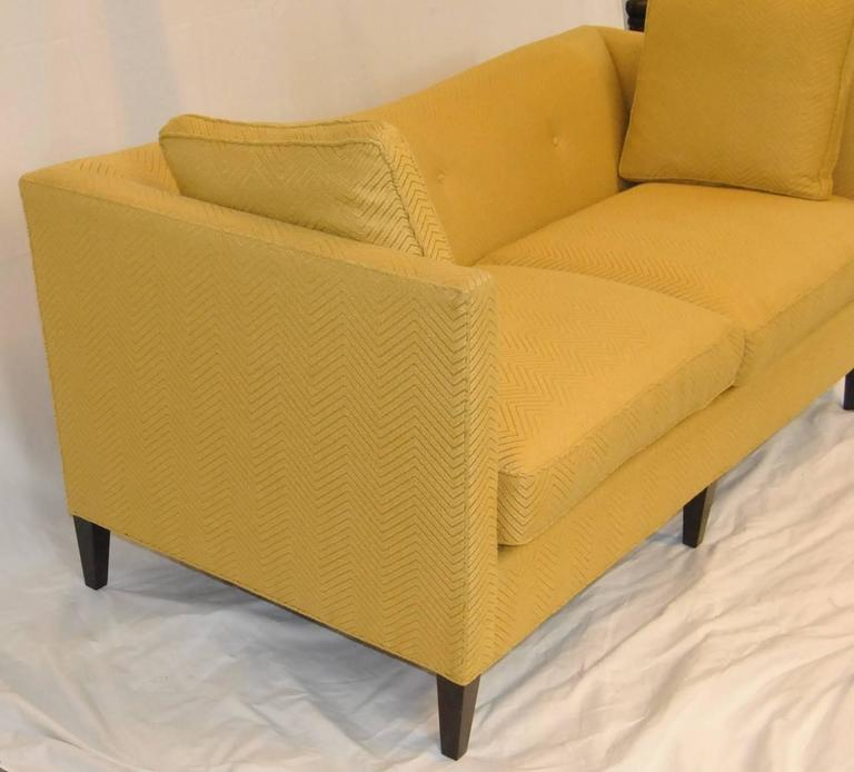 chestnut colored leather sofa fabric for covers french tuxedo butter yellow by baker furniture, ...