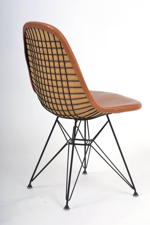 chair covers and more houston posture support desk vintage eames dkr-1 wire with leather seat on eiffel frame, circa 1950s at 1stdibs