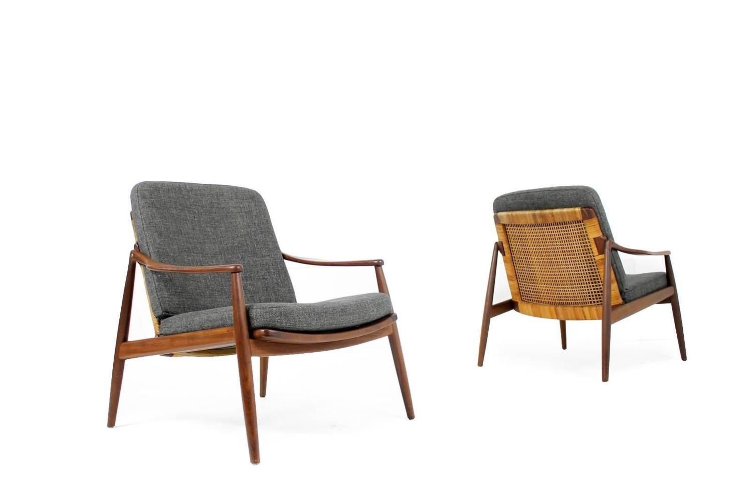 cane easy chair dining round table and chairs amazing pair of 1950s lohmeyer for wilkhahn teak